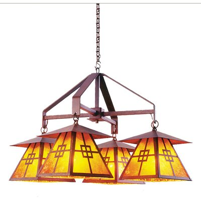Prairie 4-Light Shaded Chandelier Finish: Old Iron, Shade / Lens: Amber Mica