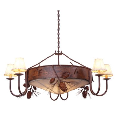 Ponderosa Pine 3-Light Shaded Chandelier Finish: Old Iron, Shade / Lens: Natural Rawhide