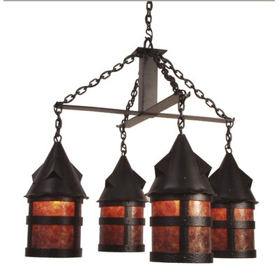 Portland 4-Light Shaded Chandelier Finish: Old Iron, Shade / Lens: Amber Mica