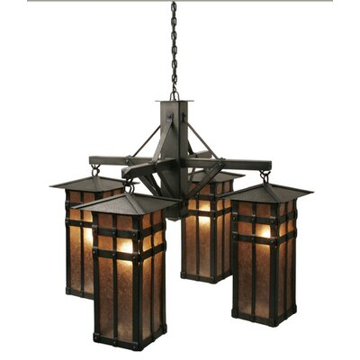 San Carlos 4-Light Shaded Chandelier Finish: Old Iron, Shade / Lens: Amber Mica