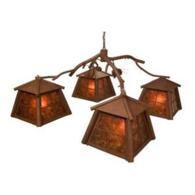 Saranac 4-Light Shaded Chandelier Finish: Rust, Shade / Lens: Amber Mica