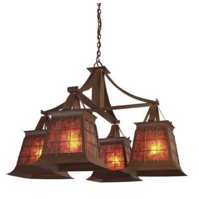 Top Ridge 4-Light Shaded Chandelier Finish: Old Iron, Shade / Lens: Amber Mica