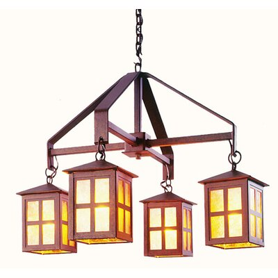 Old Faithful 4-Light Shaded Chandelier Finish: Old Iron, Shade / Lens: Amber Mica