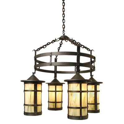 San Carlos 4-Light Shaded Chandelier Finish: Old Iron, Shade / Lens: Slag Glass Pretended