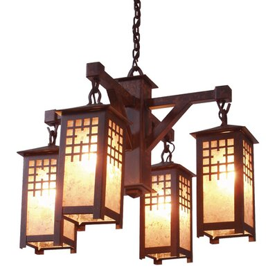 San Marcos 4-Light  Shaded Chandelier Finish: Old Iron, Shade / Lens: Amber Mica