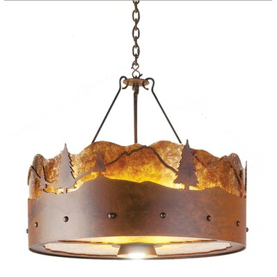 3-Light Drum Chandelier Finish: Old Iron, Shade / Lens: Slag Glass Pretended