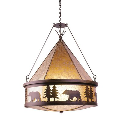 Bear 3-Light Shaded Chandelier Finish: Old Iron, Shade / Lens: Khaki