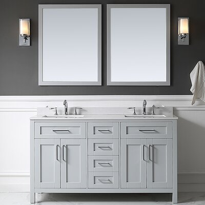 Tahoe 60 Double Bathroom Vanity Set with Mirror in Dove Gray