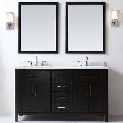 Tahoe 60 Double Bathroom Vanity Set with Mirror in Black