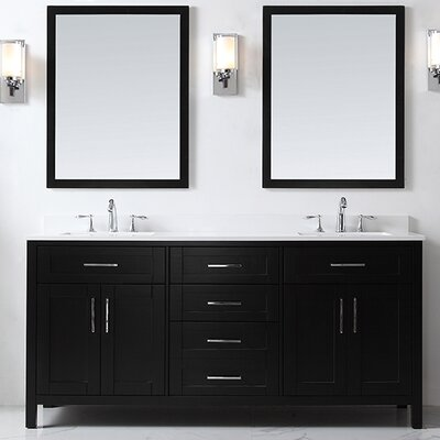Tahoe 72 Double Bathroom Vanity Set with Mirror in Espresso