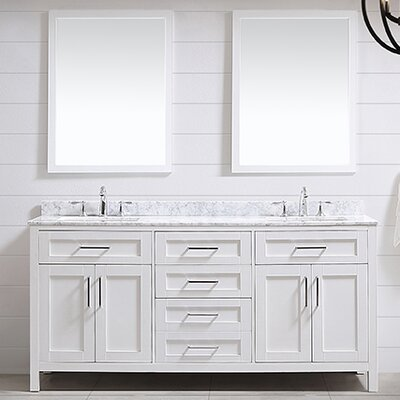 Tahoe 72 Double Bathroom Vanity Set with Mirror in White
