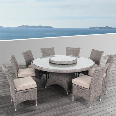 Habra II 9 Piece Dining Set with Cushions