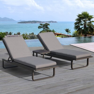Vienna 3 Piece Chaise Lounge Set with Cushion