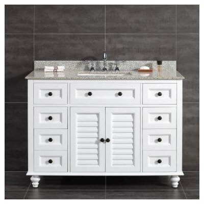 Heather 48 Single Tiger Granite Top and Rectangular Basin Vanity Set