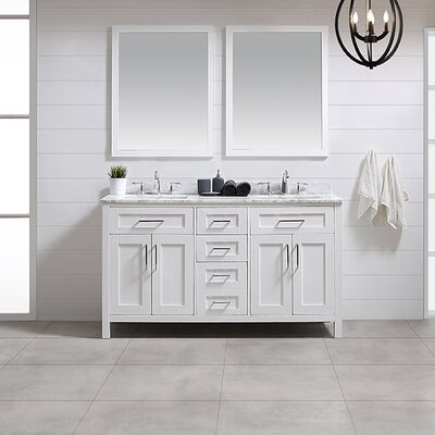 Tahoe 60 Double Bathroom Vanity Set with Mirror in White