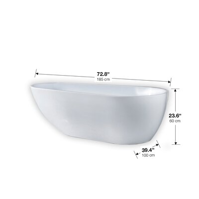 Scarlett Seamless 47 x 72.8 Freestanding Soaking Bathtub