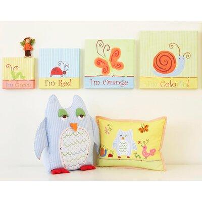Alphabet Adventure Owl Linen Throw Pillow