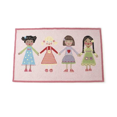 Best Friends Hand Hooked Wool Pink Area Rug