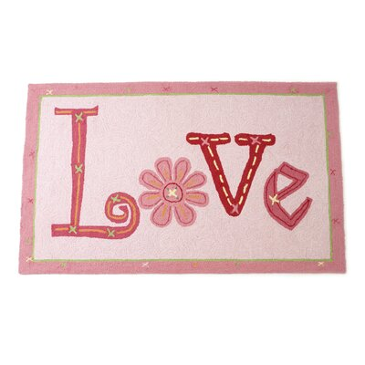 Love Hand Hooked Wool Pink Area Rug