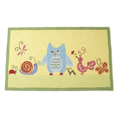 Forest Friends Hand Hooked Wool Yellow Area Rug