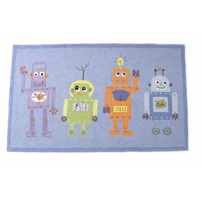 4 Robots Hand Hooked Wool Blue Area Rug