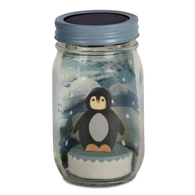 Penguin Mason Jar Solar Night Light