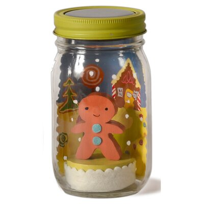 Gingerbread Mason Jar Solar Night Light