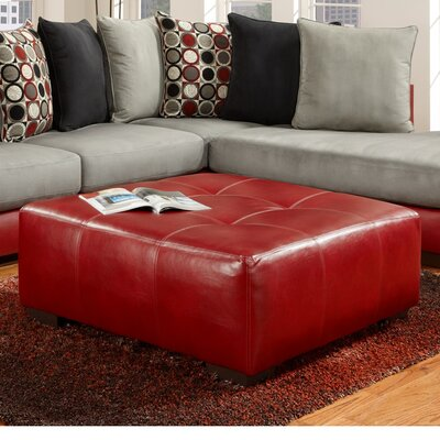 Landon Cocktail Ottoman Color: Red