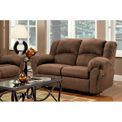 Kishmar Traditional Reclining Loveseat Upholstery: Aruba Chocolate
