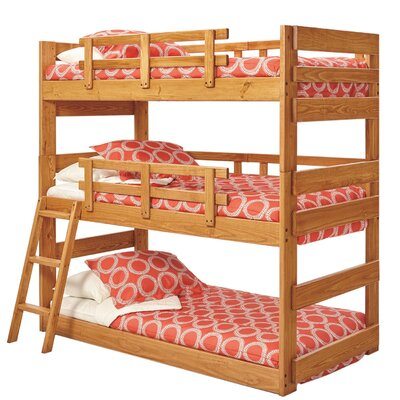 Dusty Twin over Twin Triple Bunk Bed Bed Frame Color: Honey
