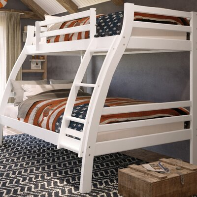 Durrell Twin Over Full Bunk Bed with Ladder Bed Frame Color: White