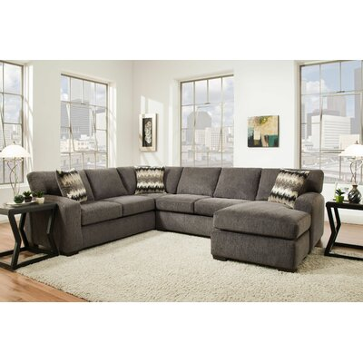 Stricker Sectional with Ottoman Upholstery: Perth Smoke, Orientation: Right Hand Facing