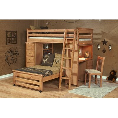 Coffey Twin Over Twin L-Shaped Bunk Beds with Chest and Desk Ends