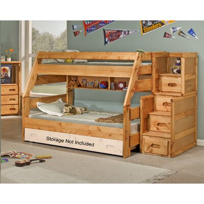 Milda Twin Over Full Bunk Bed with Stairway Chest