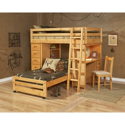 Allegro Twin Over Twin Loft Bed with Chest and Desk Ends