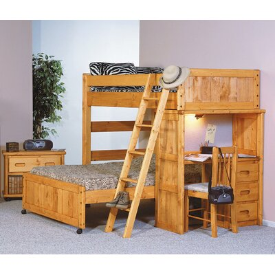 Aloway Twin Over Full Loft Bed with Desk End