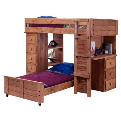 Chavira Student Twin Over Twin L-Shaped Bunk Bed with Desk and Chest