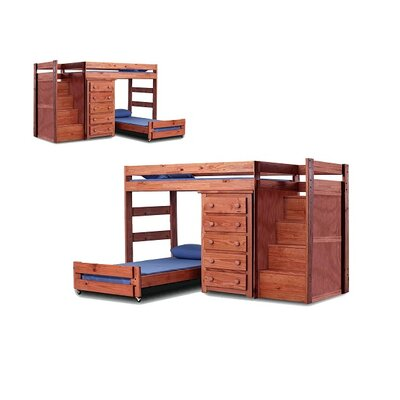 Chery Staircase Twin Over Twin L-Shaped Bunk Bed with Drawers