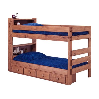 Chavarria Bookcase Twin Over Twin Bunk Bed with Storage