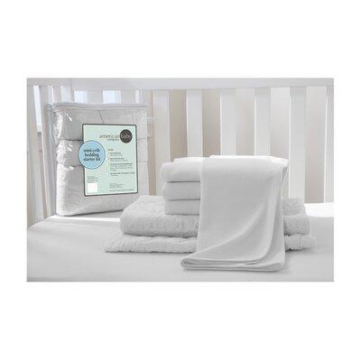 Portable Mini Starter 6 Piece Crib Bedding Set 13110 White