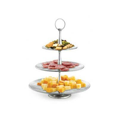 Remington Three Tiered Round Serving Set In Stainless Steel