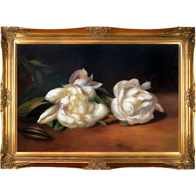 'Branch of White Peonies with Pruning Shears' by Edouard Manet Framed Painting Print on Wrapped Canvas