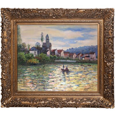 'The Seine at Vetheuil' by Claude Monet Framed Painting