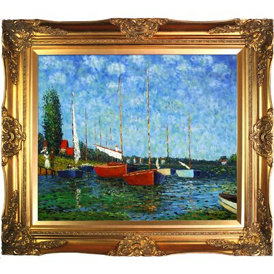'Red Boats at Argenteuil' Oil Painting Print on Canvas MON1022-FR-6996G20X24