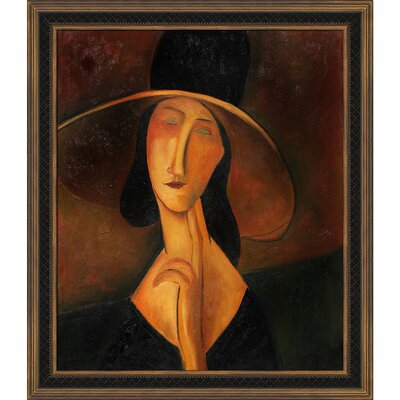 Portrait of Woman in Hat (Jeanne Hebuterne in Large Hat), 1917 by Amedeo Modigliani Framed Painting MD1743-FR-M8058820X24