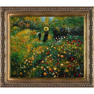 Woman with a Parasol in a Garden by Pierre-Auguste Renoir Framed Original Painting RN2694-FR-215320X24