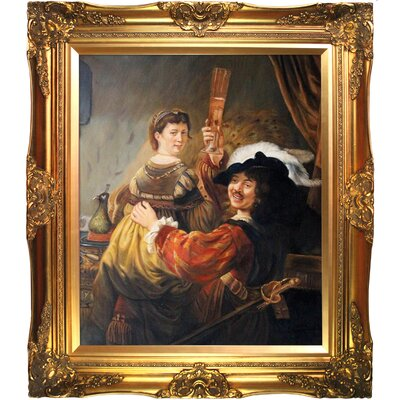 Rembrandt and Saskia in the Parable of the Prodigal Son by Rembrandt van Rijn Framed Painting REM3255-FR-6996G20X24