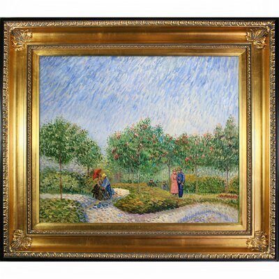 Couples in the Voyer d Argenson Park at Asnierse by Vincent Van Gogh Framed Painting VG3338-FR-650G20X24