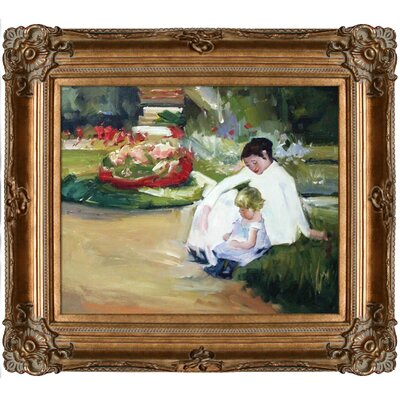 Woman and Child Seated in a Garden by Mary Cassatt Framed Original Painting CA2814-FR-801G20X24