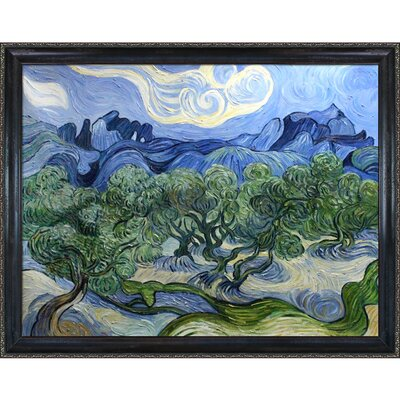 Olive Trees with the Alpilles in the Background by Vincent Van Gogh Framed Painting VG1031-FR-982330X40